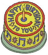 Drawing of a yellow, blue, and red happy birthday cake with one yellow candle