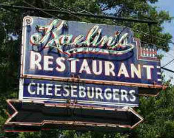 "Now defunct Kaelin's Restaurant of Louisville Kentucky Neon Sign featuring the word ""cheeseburgers."""