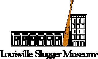 black and white logo image of Louisville Slugger Museum building in Louisville KY with large brown baseball bat, taller than adjacent building.