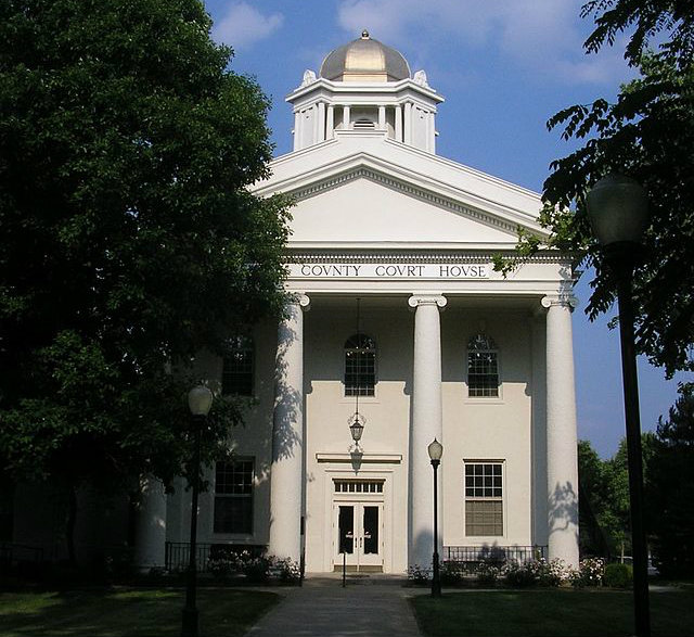 Court Reporters Louisville KY & Lexington KY - Old Kenton County Courthouse, white with pillars and gold cupola