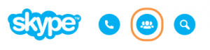 Blue and white Skype icons