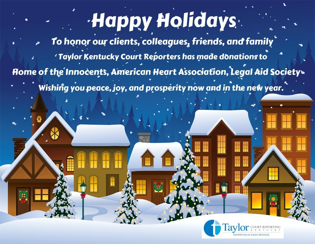 Happy Holidays from Taylor Kentucky Court Reporters